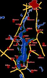 Karte der Fahrradroute um den Schwielochsee