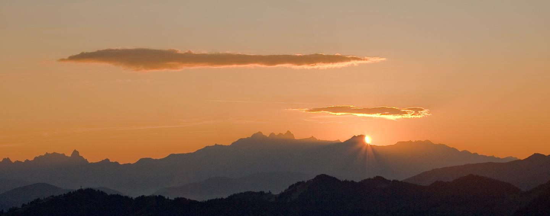 Sonnenaufgang in den Alpen bei Großarl