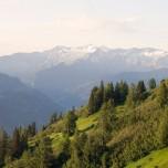 Morgensonne über den Alpen bei Großarl