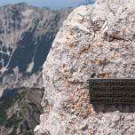 Gedenktafel für Heinz Lindheimer beim Aufstieg auf den Hinteren Goinger Halt