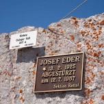 Gedenktafel für Josef Eder am Hinteren Goinger Halt