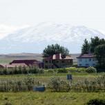 Der Vulkan Hekla vom Hotel aus