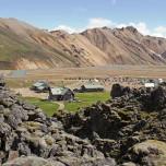 Blick auf den Campingplatz Landmannalaugar