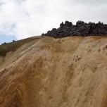 Lava auf rotem Berg