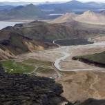 Landmannalaugar vom Vulkan Bláhnúkur aus
