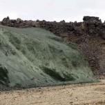 Grüner Felsen in Landmannalaugar