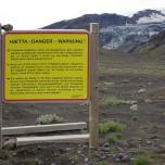 Warnung am Gígjökull vor giftigen Gasen des Vulkans