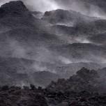 Dampfende Lava des Vulkans Eyjafjallajökull auf Island III