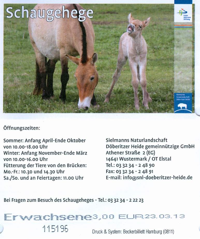 Vorder- und Rückseite der Eintrittskarte zum Schaugehege in der Döberitzer Heide