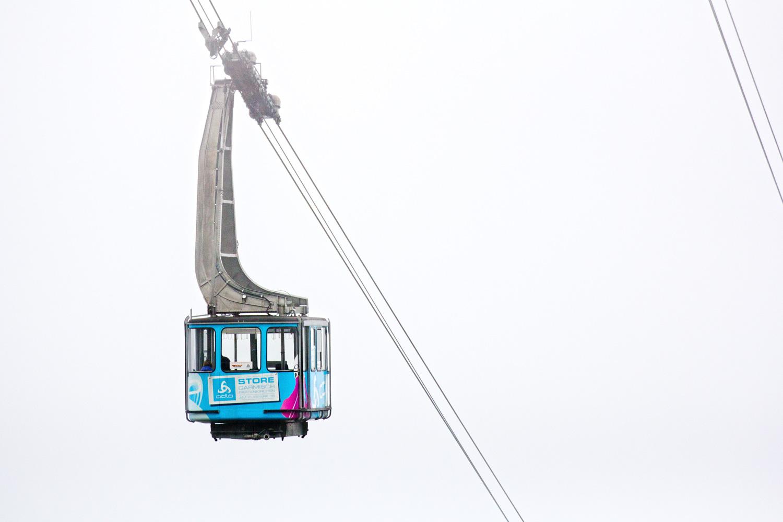 Gondel der Seilbahn Alpspitzbahn im Nebel