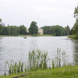 Blick über den Wörlitzer See zum Schloss Wörlitz
