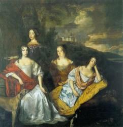 Jan Mijtens: Bildnis der Töchter Friedrich Heinrichs von Oranien, Öl auf Leinwand, datiert 1666, Anhaltische Gemäldegalerie, Dessau
