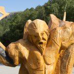 Holzfigur im Landa Park, Campingplatz, Norwegen, Wikinger