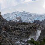 Buarbreen mit Gletscherfluss, Buerbreen, Folgefonna, Gletscher bei Odda, Norwegen