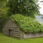 Hütte mit Grasdach in der Baronie Rosendal
