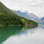 Gletscher Jostedalsbreen in Sicht